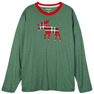 Hatley Men's Long Sleeve Tee - Holiday Moose on Plaid, Small