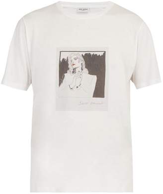 Saint Laurent Face Print Cotton Jersey T Shirt - Mens - White Multi