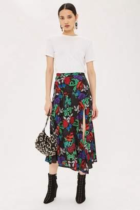 Topshop Raven Floral Midi Skirt