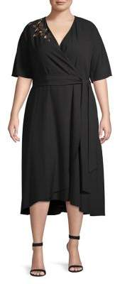 Tahari Arthur S. Levine Plus Embroidered High-Low Wrap Dress