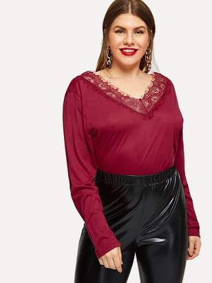 Shein Plus Contrast Lace V-Neck Tee