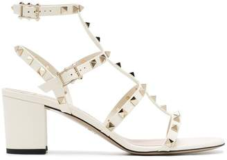Valentino White Rockstud Leather Sandals