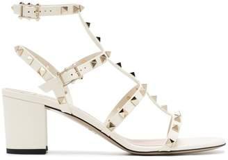 Valentino White Rockstud Leather Sandals