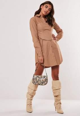 Missguided Brown Corset Waist Poplin Shirt Dress