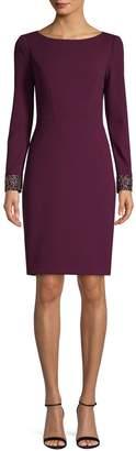 Vince Camuto Embellished-Cuff Sheath Dress