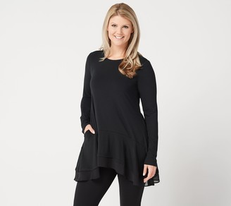 Logo By Lori Goldstein LOGO Lounge by Lori Goldstein Jersey Knit Top with Chiffon Hem