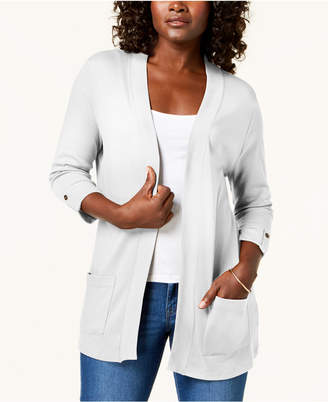 Karen Scott Cotton 3/4-Sleeve Open-Front Cardigan, Created for Macy's