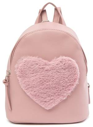T-Shirt & Jeans Faux Fur Heart Backpack