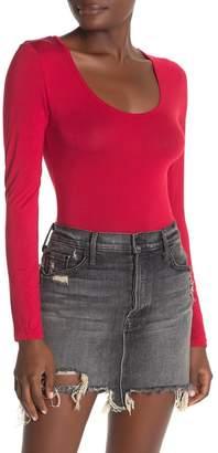 Double Zero Scoop Neck Long Sleeve Bodysuit