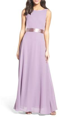 LuLu*s Belted V-Back Chiffon Gown