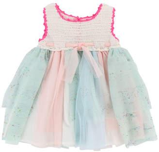 Billieblush Crochet Dress w/ Glittered Tulle Skirt, Size 2-3