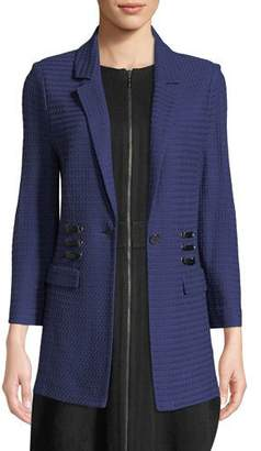 Misook 3/4-Sleeve Textured Jacket w/ Faux-Leather Lacing