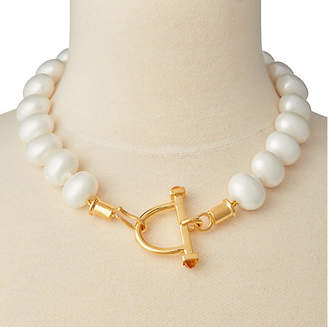 Catherine Canino Mother-of-Pearl Stirrup & Hook Necklace - Brass