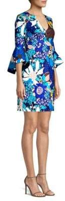Trina Turk Found In Translation Winnie Floral-Print Off-The-Shoulder Shift Dress