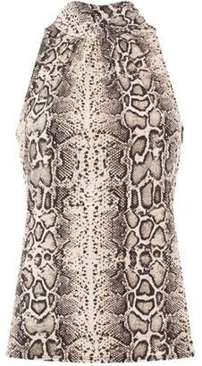 Dorothy Perkins Womens Multi Colour Snake Print Halter Neck Co-Ord Top