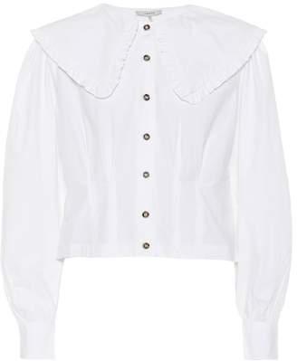 Ganni Cotton poplin cropped shirt