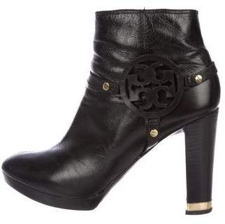 Tory Burch Leather Logo Ankle Boots