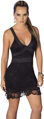 Am.pm. Mapalé by AM:PM Women's Sexy Elegant Cocktail Lace Cross Back Mini Dress Clubwear