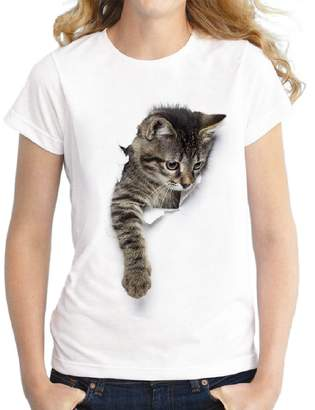 Sexybaby Women's Cat Plus Size Basic Digital Print Baggy T-Shirt Blouse Shirt 2XL