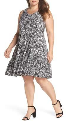 Gabby Skye Crochet Back Lace Print Dress