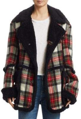R 13 Plaid-Print Coat