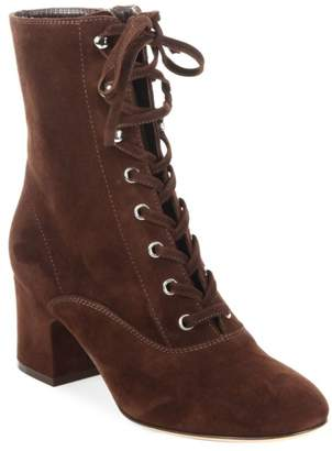 ed1a6f880c Gianvito Rossi Lace-Up Suede Block Heel Booties