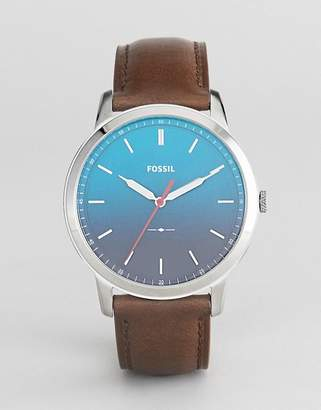 Fossil Fs5440 The Minimalist Leather Watch With Ombre Face