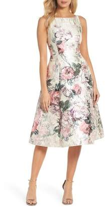 Adrianna Papell Print Jacquard Tea-Length Dress