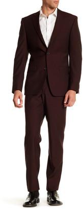 Simon Spurr Red Sharkskin Two Button Notch Lapel Wool Regular Fit Suit $379.97 thestylecure.com