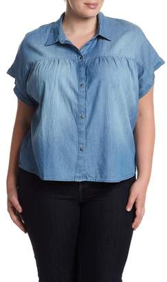 Susina Short Sleeve Chambray Button Down Shirt (Plus Size)