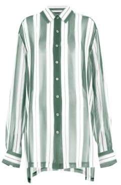 Marc Jacobs Redux Grunge Wide Stripe Silk Chiffon Shirt