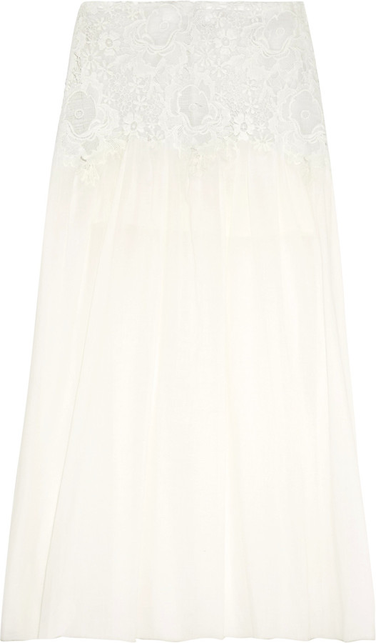 See By Chloe See by Chloé Crochet-paneled cotton-voile maxi skirt