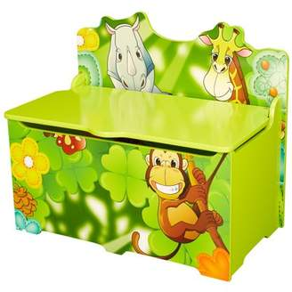 Senda Kid's Jungle Wooden Storage Toy Box with Lid