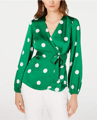INC International Concepts I.n.c. Dotted Wrap Blouse