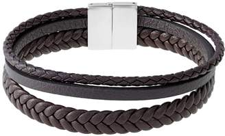 Lynx LYNXMen's Stainless Steel & Braided Brown Leather Bracelet
