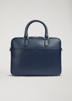 Emporio Armani Briefcase In Boarded Printed Leather