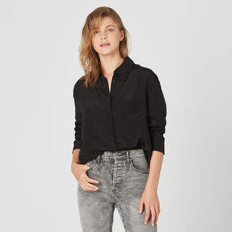 DSTLD Womens Silk Blouse in Black