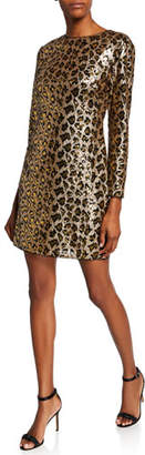 Aidan Mattox Leopard Sequin Long-Sleeve Sheath Dress