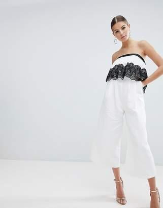 Asos Design DESIGN occasion structured bandeau jumpsuit with lace trim