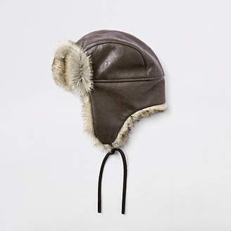 River Island Brown leather faux fur trapper hat