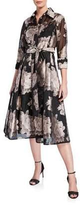 dca3b4b160 Rickie Freeman For Teri Jon Floral Burnout Jacquard Organza Shirtdress