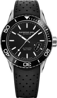 Raymond Weil Freelancer Diver Automatic Rubber Strap Watch, 43mm