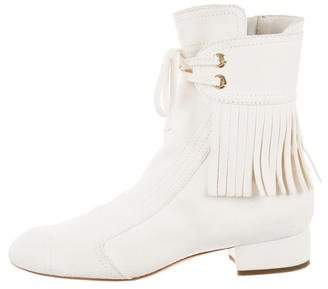 Chanel Suede Fringe Ankle Boots