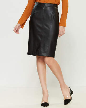 Mariella Rosati Cigno Faux Leather Front Pencil Skirt