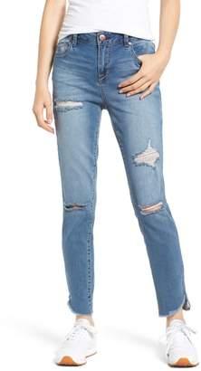 1822 Denim Distressed Angled Step Hem Skinny Jeans