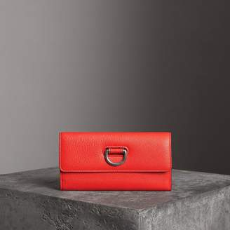 Burberry D-ring Grainy Leather Continental Wallet, Red