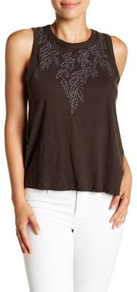 Lucky Brand Embroidered Ruched Back Sleeveless Shirt