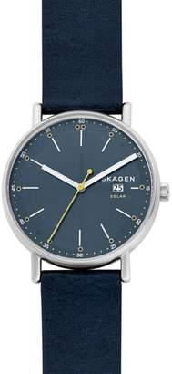 Skagen Signatur Solar Powered Leather Strap Watch, 40mm