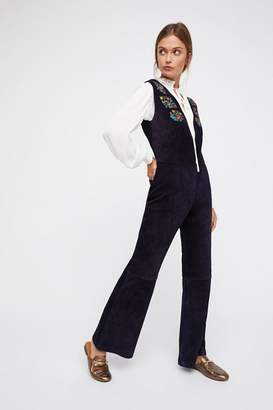 Understated Leather Embroidered Suede Jumpsuit