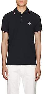 Moncler Men's Striped Cotton Piqué Polo Shirt - Navy